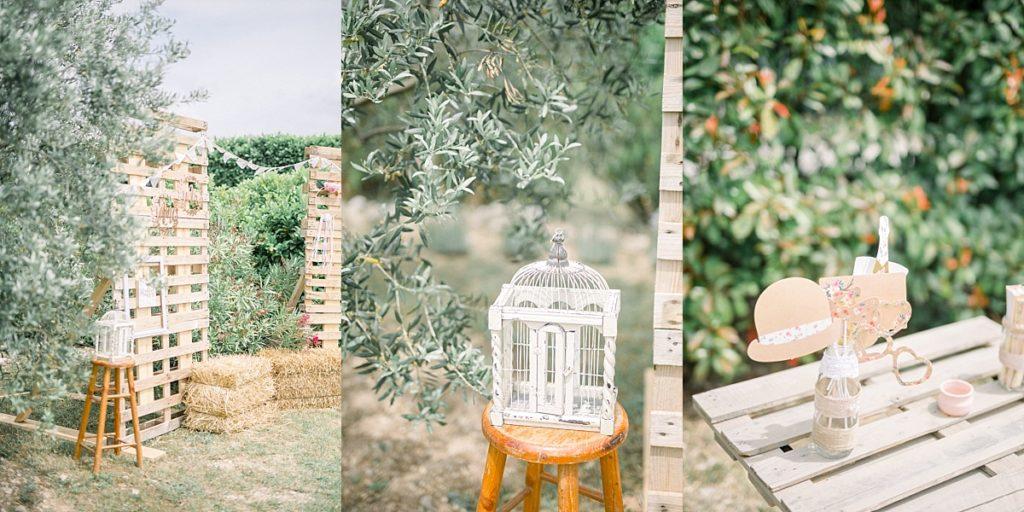 Decoration de mariage vers Manosque dans le jardin de famille
