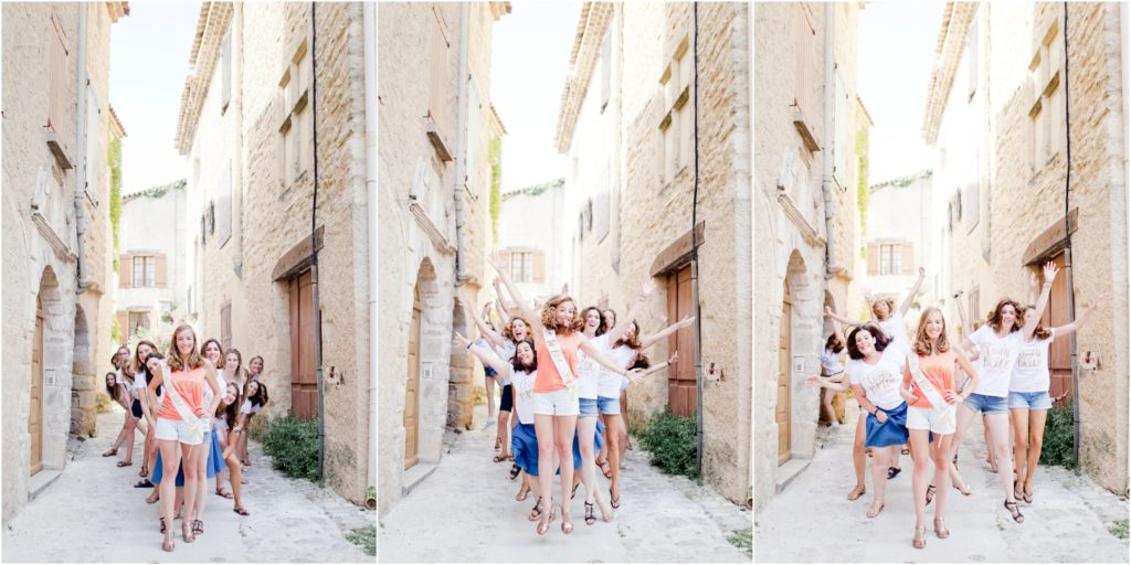 Seance photo EVJF Manosque avec la future mariée et ses amies qui posent