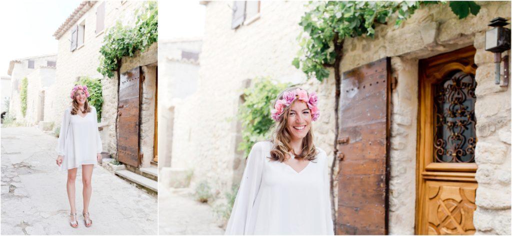 Portrait de la future mariée avec sa couronne de fleurs lors d'un shooting EVJF vers Manosque