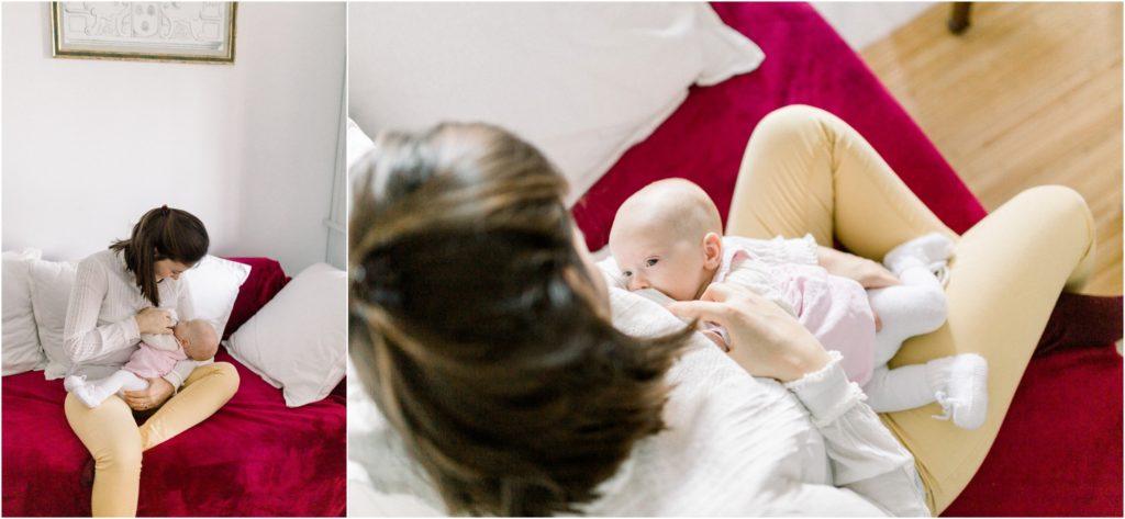 seance photo naissance bébé allaitement dans le canapé
