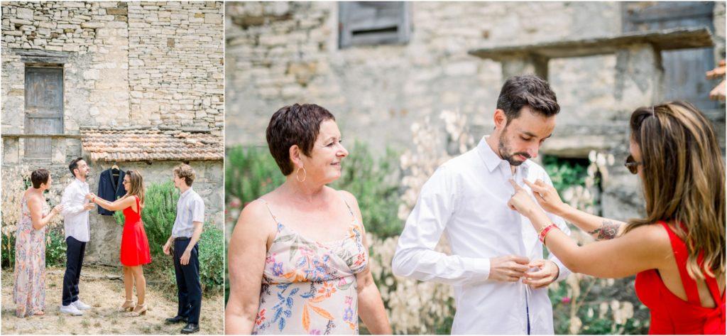 photo mariage Forcalquier préparatif marié en extérieur