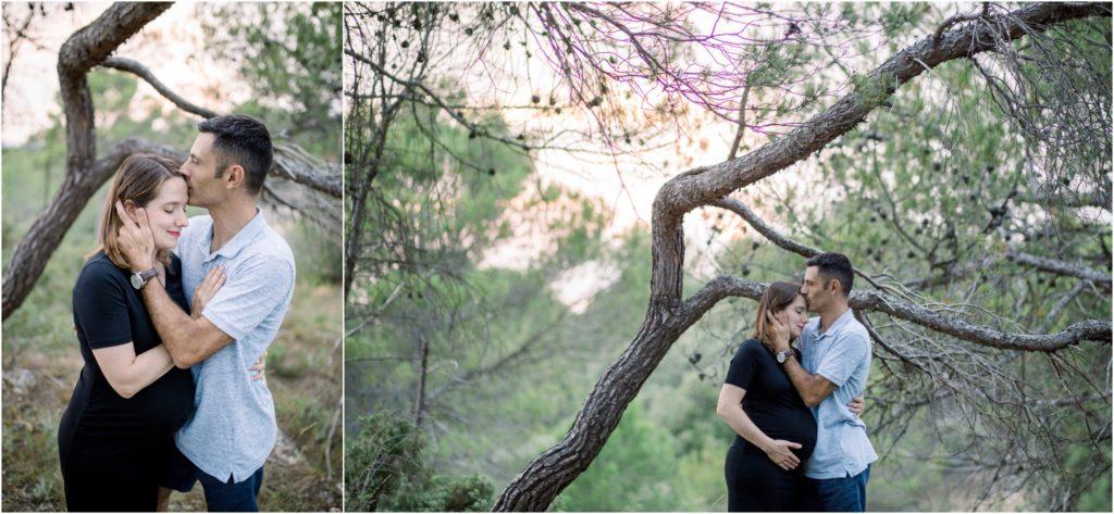Shooting grossesse vers Pertuis où les futurs parents sont dans la colline