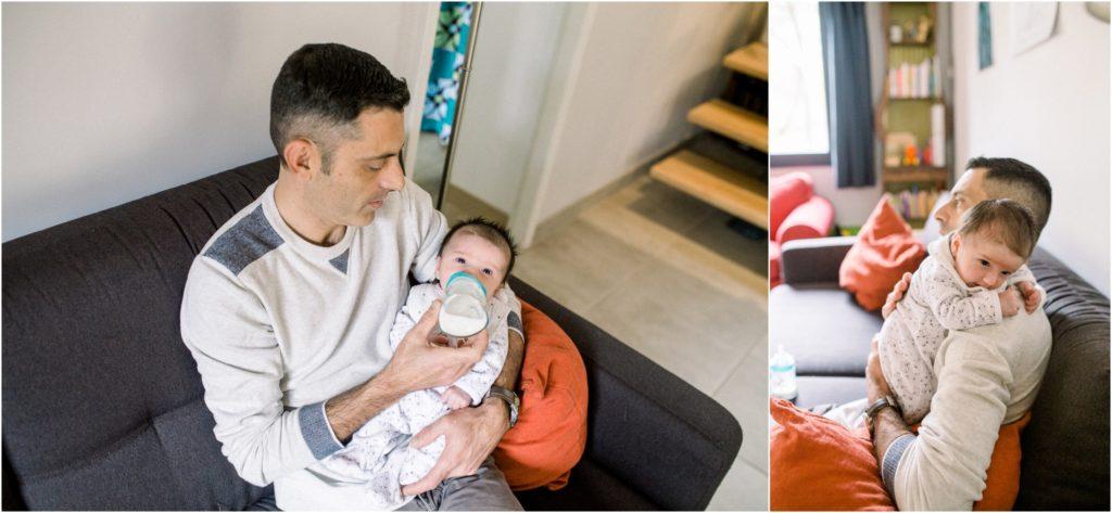 seance photo naissance à domicile papa donne le biberon